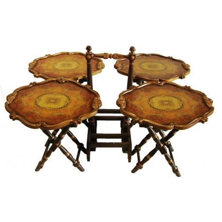 طقم طاولات خدمة خشب